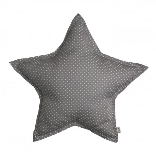 Coussin tissu étoile Pois - Gris