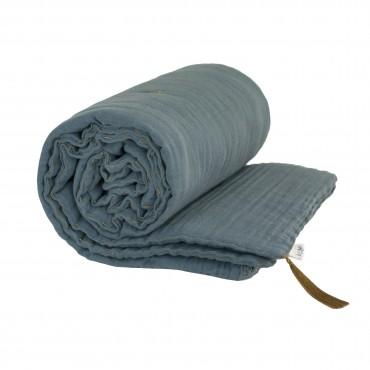 Couverture d'hiver 110x160 cm lange uni - Bleu gris