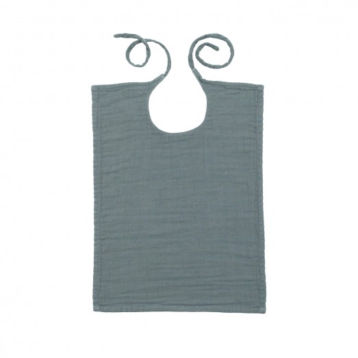 Bavoir rectangle lange uni - Bleu gris