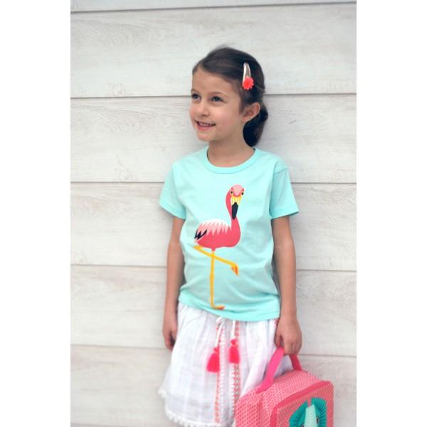 T-shirt enfant manches courtes Turquoise coton bio - Flamant rose