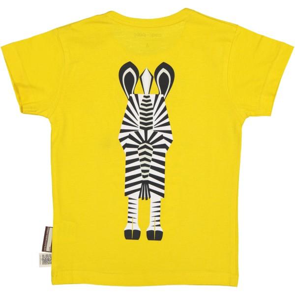 T-shirt enfant manches courtes Jaune coton bio- Zèbre