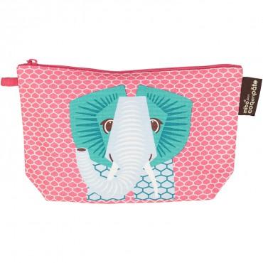 Trousse d'écolier à soufflet coton bio rose - Eléphant