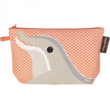 Trousse d'écolier à soufflet coton bio orange - Dauphin