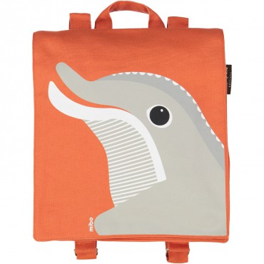 Petit cartable en coton bio Orange - Dauphin
