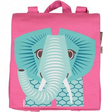 Petit cartable en coton bio Rose - Éléphant