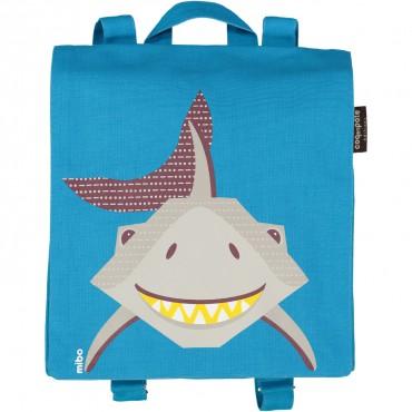 Petit cartable en coton bio Bleu - Requin