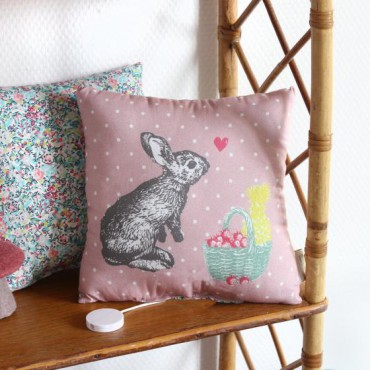 Coussin musical - Lapin rose
