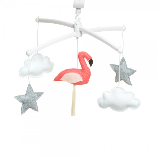 Mobile musical bébé - Flamant rose - Corail