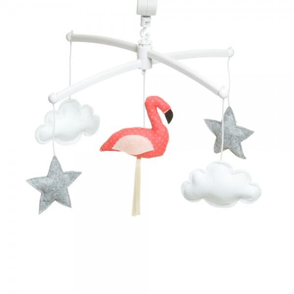 Mobile musical bébé - Flamant rose - Corail