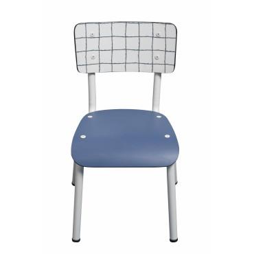 Chaise Little Suzie Carreaux bleus et blancs - Pieds blancs