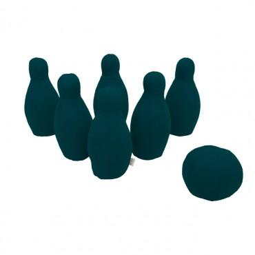 Jeu de bowling en toile - Bleu canard
