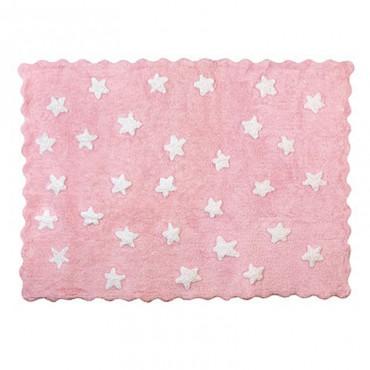 Tapis petites étoiles pleines - rose