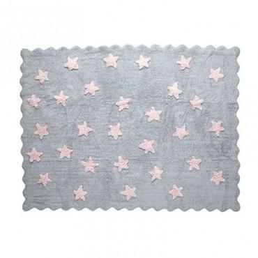 Tapis petites étoiles pleines - gris/rose