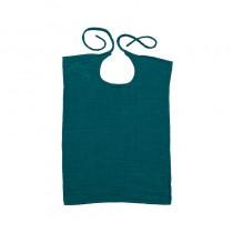 Bavoir rectangle en lange de coton bio - Bleu canard