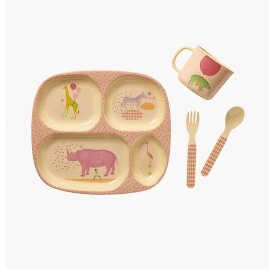 Set repas en mélamine - Animal print, Rose