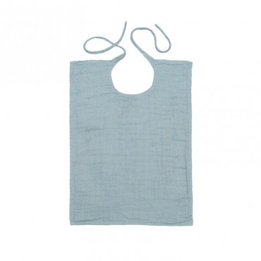 Bavoir rectangle en lange de coton bio - Bleu clair
