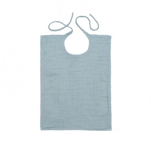 Bavoir rectangle en lange de coton bio - Bleu clair