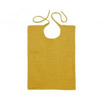 Bavoir rectangle en lange de coton - Jaune