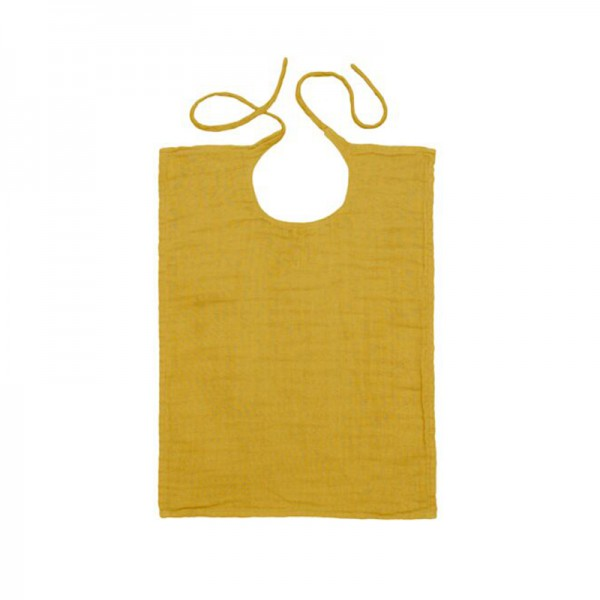 Bavoir rectangle en lange de coton - Jaune