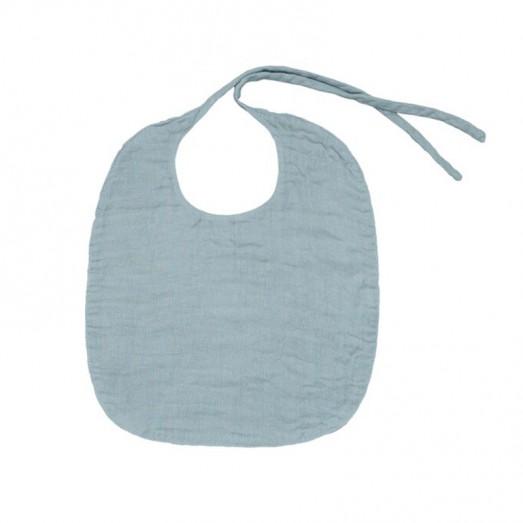 Bavoir rond en lange de coton - Bleu gris