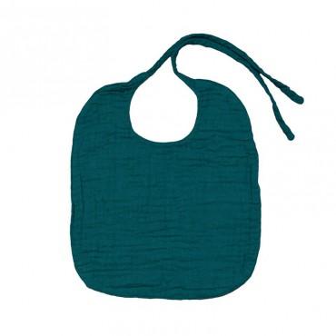 Bavoir rond en lange de coton - Bleu canard