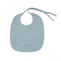 Bavoir rond en lange de coton bio - Bleu clair