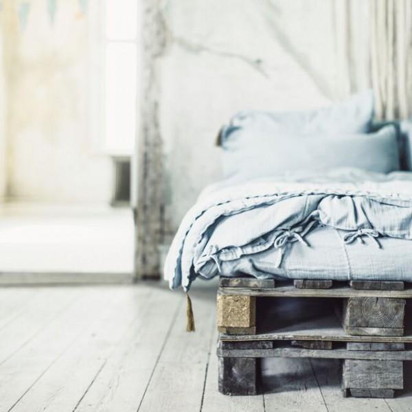 Parure de lit en lange de coton bio - Gris ciment