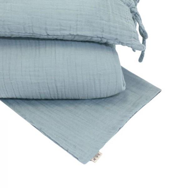 Parure de lit en lange de coton bio - Bleu clair