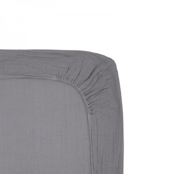 Drap housse de matelas à langer en coton bio - Gris ciment