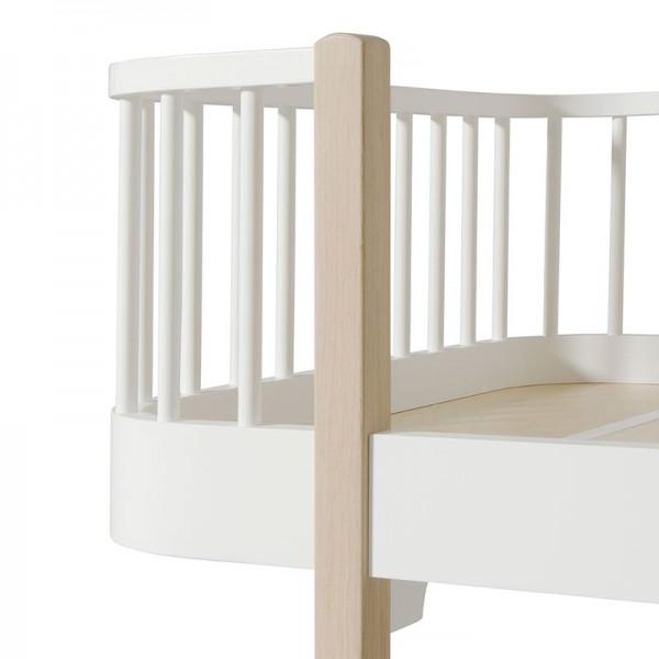 Lit Wood junior 90 x 160 - Blanc et chêne