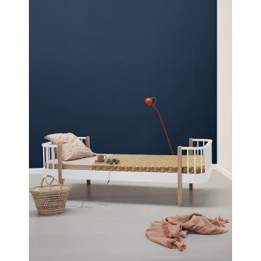 Lit Wood 90 x 200 - Blanc et chêne