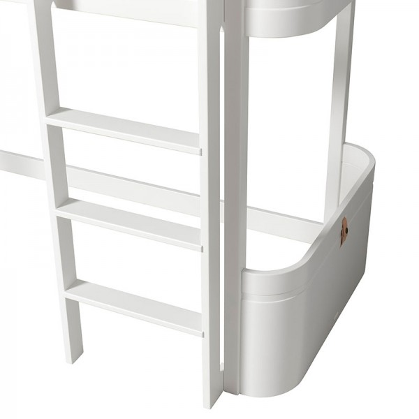 Lit mezzanine Mini + Wood - Blanc