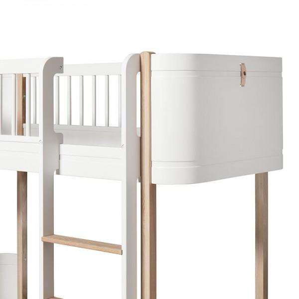 Lit mezzanine Mini + Wood - Blanc et chêne