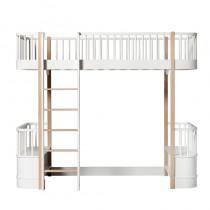 Lit mezzanine haut Wood 90 x 200 - Blanc et chêne