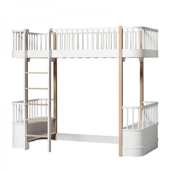 Lit mezzanine Wood 90 x 200 - Blanc et chêne