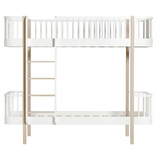 Lit superposé Wood 90 x 200 - Blanc et chêne