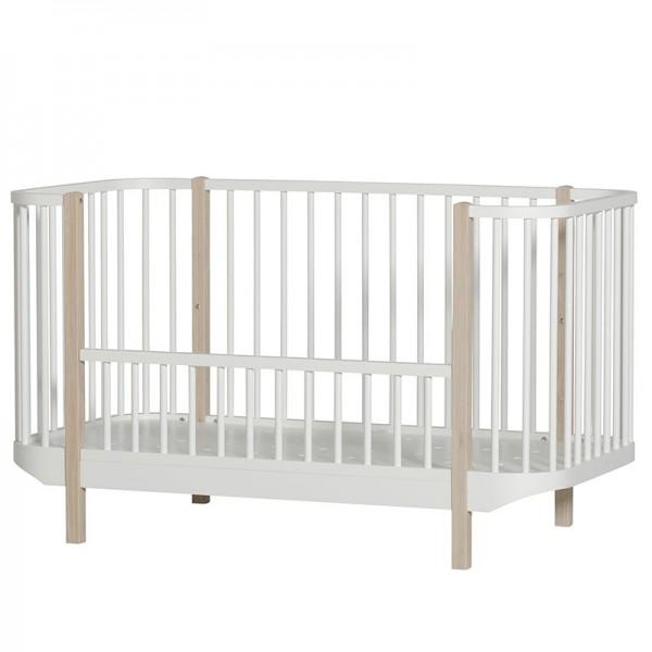 Lit bébé évolutif Wood Cot 70x140 cm - Blanc et chêne