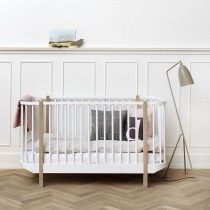 Lit bébé évolutif Wood 70x140 cm - Blanc et chêne