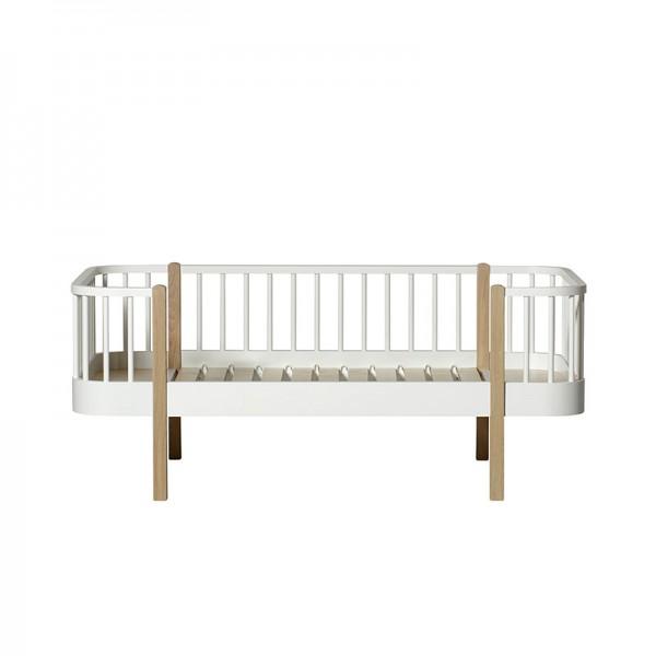 Lit  Banquette Wood junior 90 x160 - Blanc et chêne