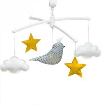 Mobile musical bébé - Oiseau couronné perruche bleue