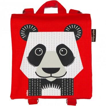 Petit cartable en coton bio - Panda rouge