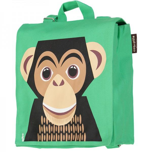 Petit cartable en coton bio - Chimpanzé