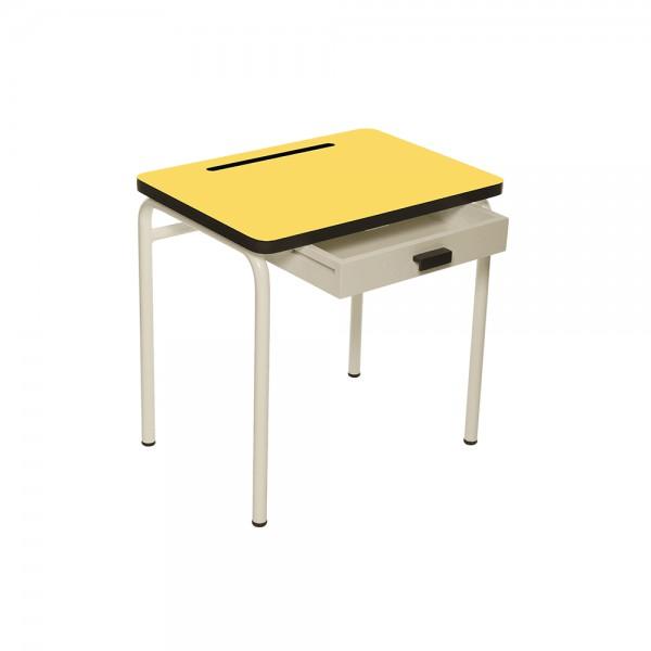 Bureau Régine Jaune citron - Pieds blancs