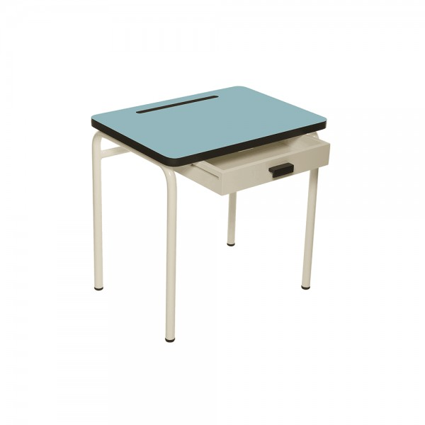 Bureau Régine Bleu Jade - Pieds blancs