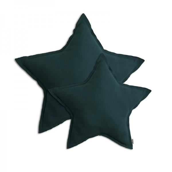 Coussin coton étoile - Bleu canard