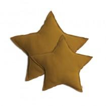 Coussin coton étoile - Moutarde