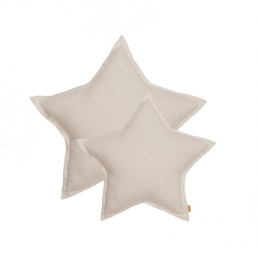 Coussin coton étoile - Blanc cassé