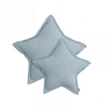 Coussin coton étoile - Bleu clair