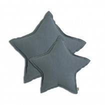 Coussin coton étoile - Bleu gris