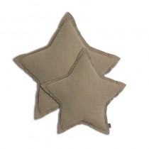 Coussin coton bio étoile - Taupe